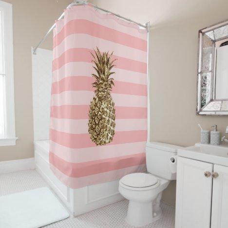Stylish pretty girly gold pineapple & pink stripe shower curtain