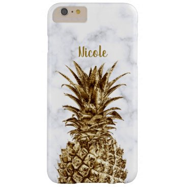 Stylish pretty girly gold & white marble pineapple barely there iPhone 6 plus case