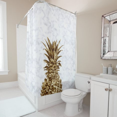 Stylish pretty girly gold & white marble pineapple shower curtain
