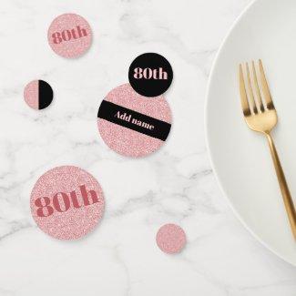 Stylish pretty personalised birthday confetti 80th