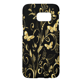 Stylish Printed Faux Gold Butterflies Samsung Galaxy S7 Case