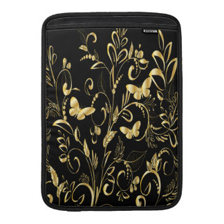Stylish Printed Faux Gold Butterflies Sleeves For MacBook Air