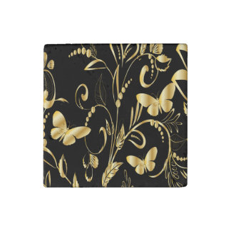 Stylish Printed Faux Gold Butterflies Stone Magnet