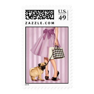 Stylish promenade postage stamp