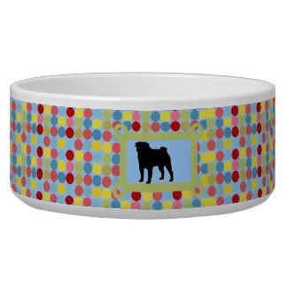 Stylish Pug Dog Food Bowl- Blue Dog Food Bowl