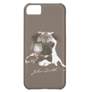 Stylish Pug & Fine Wine Custom Name iPhone 5 Case