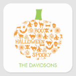 Stylish Pumpkin Halloween Gift Tag Stickers Square Sticker