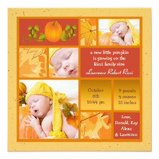 Stylish Pumpkin Photo Square Birth Announcement