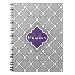 Stylish Purple and Gray Moroccan Tile Pattern Notebook