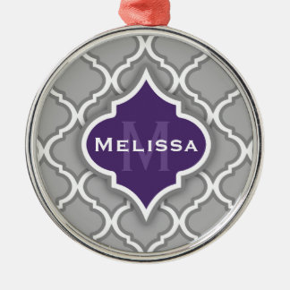 Stylish Purple and Gray Moroccan Tile Pattern Christmas Tree Ornaments