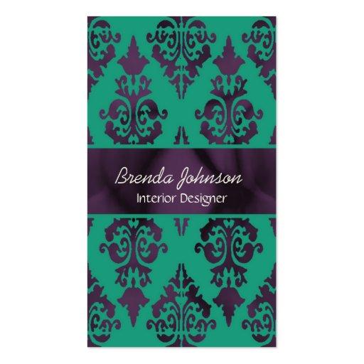 Stylish Purple and Green Damask Business Card