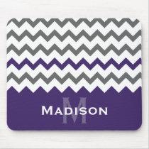 Stylish Purple and Grey Chevron Pattern Mouse Pad