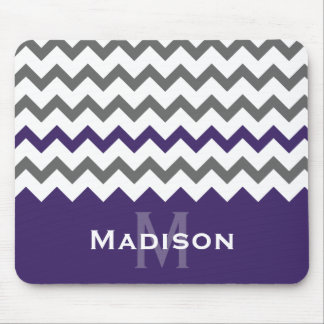 Stylish Purple and Grey Chevron Pattern Mouse Pad