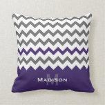 Stylish Purple and Grey Chevron Pattern Throw Pillow