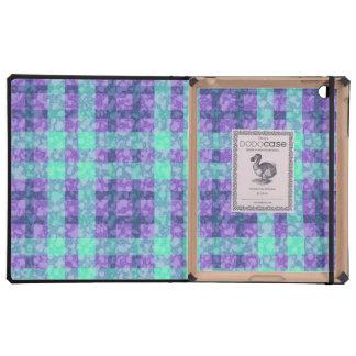 Stylish Purple And Teal Checks Pattern iPad Folio Cases