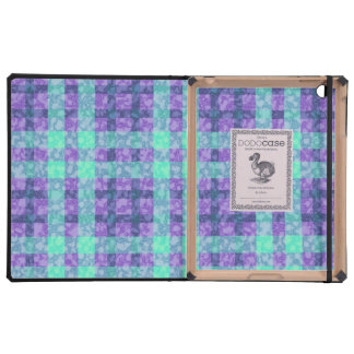 Stylish Purple And Teal Checks Pattern Covers For iPad