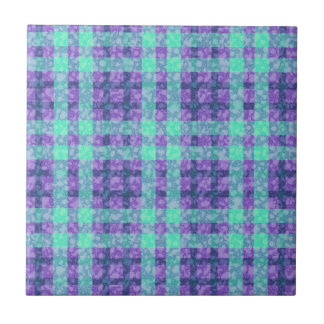 Stylish Purple And Teal Checks Pattern Tiles