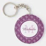 Stylish Purple and White Hearts Monogram and Name Basic Round Button Keychain