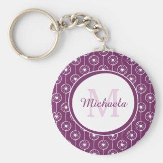 Stylish Purple and White Hearts Monogram and Name Keychain