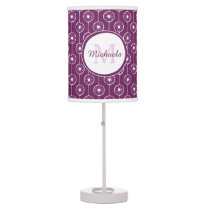 Stylish Purple and White Hearts Monogram With Name Desk Lamp