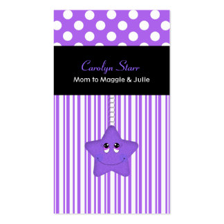 Stylish Purple and White Star Mommy Card Double-Sided Standard Business Cards (Pack Of 100)