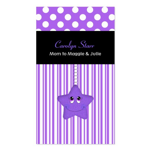 Stylish Purple and White Star Mommy Card Business Cards