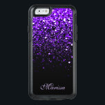 "Stylish Purple Black Glitter OtterBox 6 Case<br><div class=""desc"">Girly-Girl-Graphics at Zazzle: Customizable Unique Trendy Stylish Elegant Classy Purple Glitter Sparkles Bling on Black Pattern Print Chic Modern Women&#39;s Fashion Accessories Otterbox Apple iPhone 6 / 6s Case to Personalize with Your Amazing Name using a Fancy Script Typography Font Text makes a Beautiful Birthday, Christmas, Wedding, Graduation, or Any...</div>"