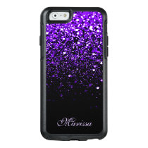 Stylish Purple Black Glitter OtterBox 6 Case