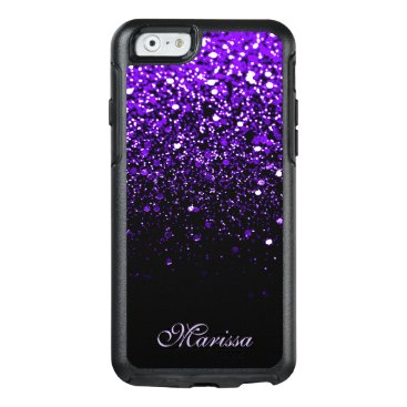 Christmas Themed Stylish Purple Black Glitter OtterBox 6 Case