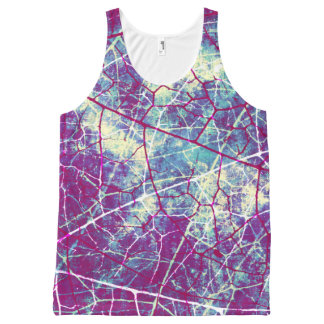 Stylish Purple Blue Crackle Lacquer Grunge Texture All-Over Print Tank Top