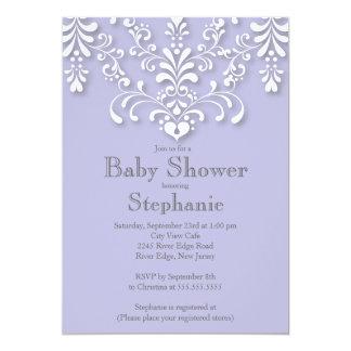 Stylish Purple Damask Baby Shower Invitation