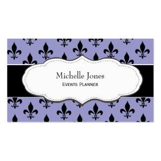 Stylish Purple Fleur de Lis business cards