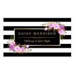 Stylish Purple Floral Gold Black White Stripes Business Card