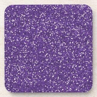 Stylish Purple Glitter Beverage Coaster