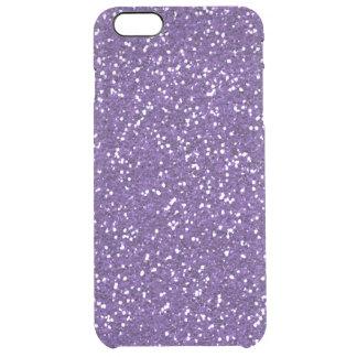 Stylish Purple Glitter Clear iPhone 6 Plus Case