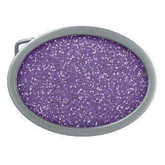 Stylish Purple Glitter Oval Belt Buckle