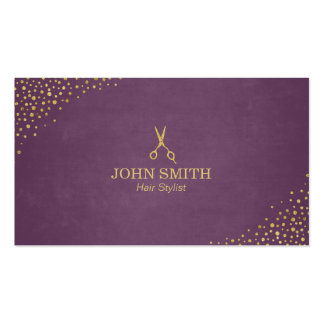 Stylish Purple Gold Dots & Scissor Hair Stylist Double-Sided Standard Business Cards (Pack Of 100)