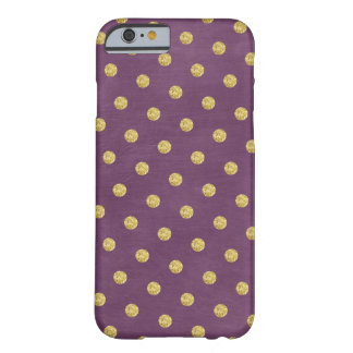 Stylish Purple & Gold Polka Dots Barely There iPhone 6 Case