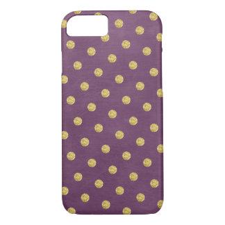 Stylish Purple & Gold Polka Dots iPhone 7 Case