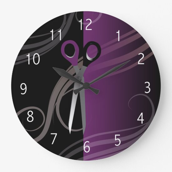 stylish purple hair salon clock