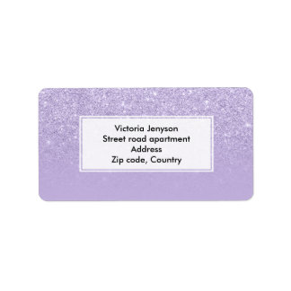 Stylish purple lavender glitter ombre color block label