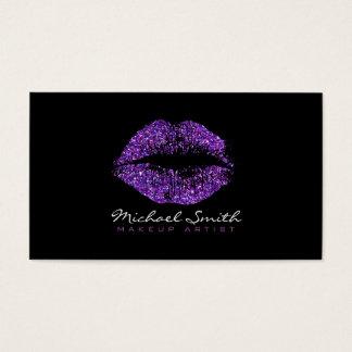 Stylish Purple Lips Makeup Artist Business Card