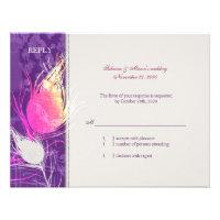 Stylish Purple Peacock Wedding Response (4.25x5.5) Invite