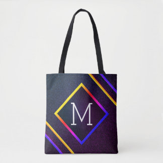 Stylish Purple & Rainbow Outlines With Monogram Tote Bag