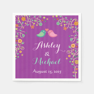 Stylish Purple Swirl Floral Love Birds Wedding Napkin