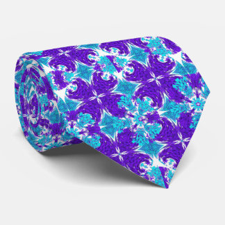 Stylish Purple Teal And White Flowery Pattern Tie