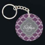 """Stylish Purple Trellis Gray Monogram Keychain<br><div class=""""desc"""">Trendy Moroccan inspired tile trellis pattern in purple and white with a grey quatrefoil label frame featuring customizable name and monogram templates.</div>"""