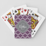 "Stylish Purple Trellis Gray Monogram Playing Cards<br><div class=""desc"">Trendy Moroccan inspired tile trellis pattern in purple and white with a grey quatrefoil label frame featuring customizable name and monogram templates.</div>"