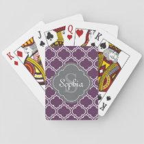 Stylish Purple Trellis Gray Monogram Playing Cards