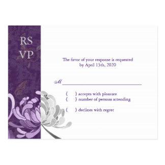 Stylish Purple & White Mum Wedding RSVP Postcard